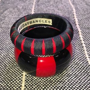 Jewelry - Black and Red bangle bracelets Game Day Bangles 🏈